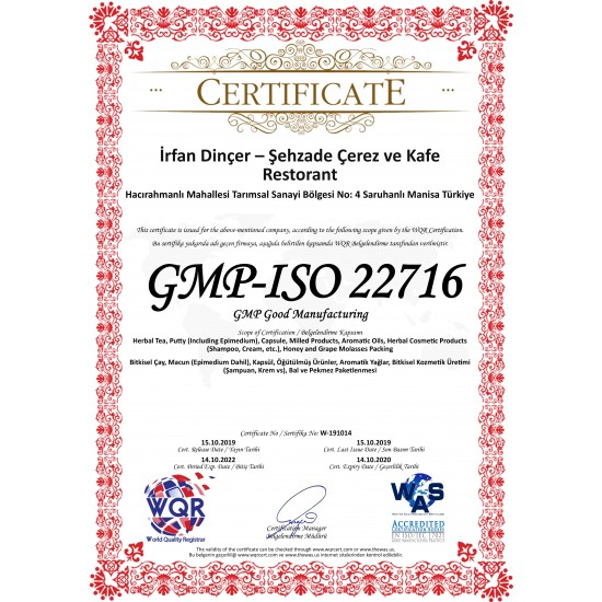 Certificat 3 Miel Aphrodisiaque Turc au Macun