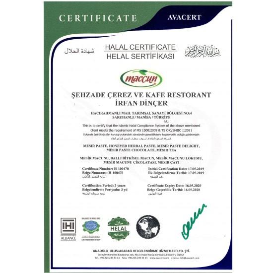 Certificat licence Miel Aphrodisiaque Turc au Macun