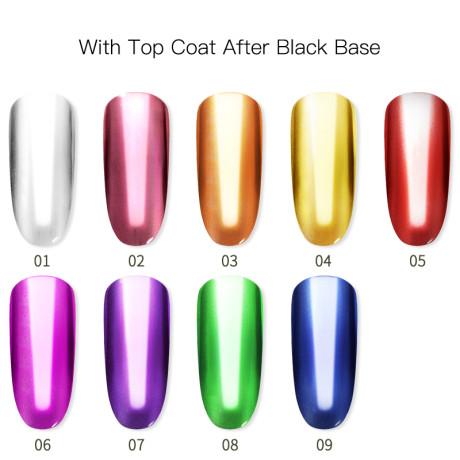 Poudre Acrylique Effet Chrome Rosalind Avec Top Coat