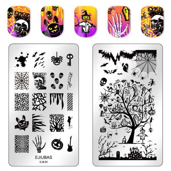 2 Plaques Stamping Halloween Double Face Ejiubas