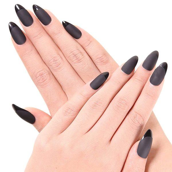 Faux Ongles Stiletto Noir Mat