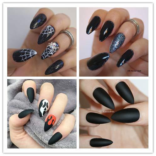 Faux Ongles Stiletto Noir Mat Exemple