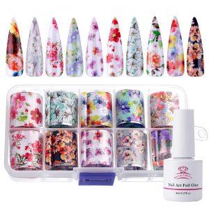 Set de Stickers Nail Art à Fleurs