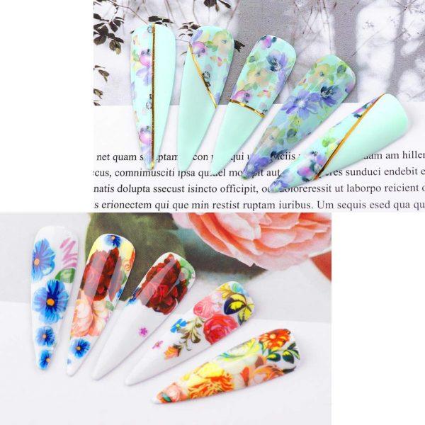 Set de Stickers Nail Art à Fleurs Exemple 2