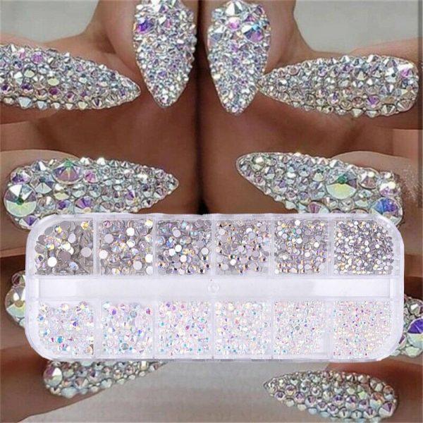 Boîtes de Strass Diamant et Crystal Nail Art