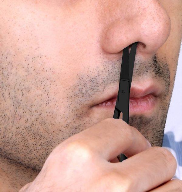 Ciseaux à Barbe & Moustache Professionnels Utopia Noir Nez